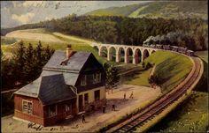 Künstler Ak Sonneberg in Thüringen, Bahnhof, Bahnstrecke, Brücke, Eisenbahn