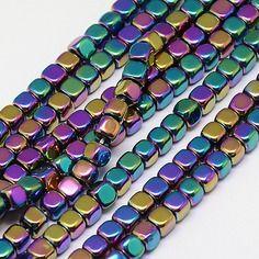 Perles 4mm en hématite multicolore x20