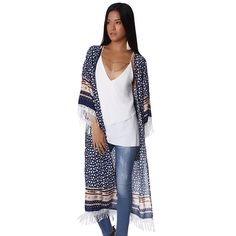 Now available on our store: Navy blue longlin... Check it out here! http://coco-glam-boutique.myshopify.com/products/navy-blue-longline-kimono-in-floral-print-with-fringe-detail