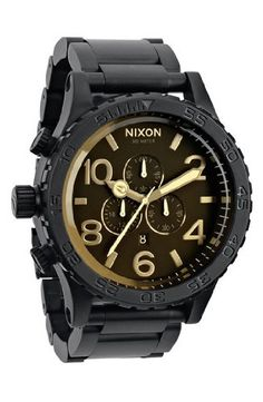 cool Nixon The 51-30 Chrono Watch in Matte Black/Orange Tint  –