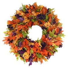 "Set a festive fall tone with this brilliant wreath, showcasing an array of colorful, faux fall foliage.  Product: WreathConstruction Material: Twig and polyesterColor: MultiDimensions: 22"" DiameterNote: Guaranteed delivery by HalloweenCleaning and Care: Wipe gently with a dry cloth. Avoid direct sunlight and humidity."