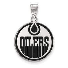 b9b1b136 Sterling Silver NHL LogoArt Edmonton Oilers Large Enamel Pendant. Edmonton  OilersGold PendantBlack EnamelJewelry ...