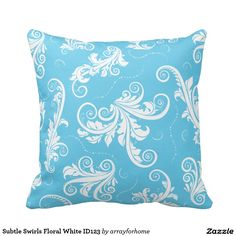 'Subtle Swirls Floral White' Choose-your-own-custom- color throw pillow. This throw pillow design features a beautiful pattern of floral swirls in white. The fun thing is, the teal blue on front and back may be changed to any color that suits your decor. Search ID123 to see other color options and matching products with this design.