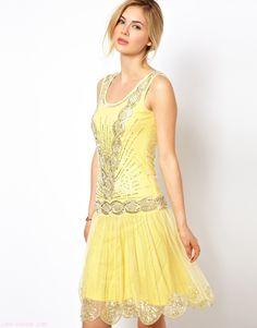 vestidos con pedrería en color amarillo