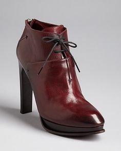 CoSTUME NATIONAL High Heel Lace Up Platform Booties in burgundy