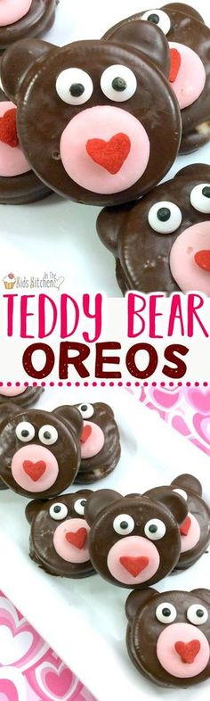 A super easy Valentine's Day party treat, these Teddy Bear Oreos will steal your heart! Chocolate-dipped treats like these are perfect to make with kids because the cookies are already pre-made (no baking required!) and all you have to do is decorate (the fun part!!) #valentinesday #cookies #oreo