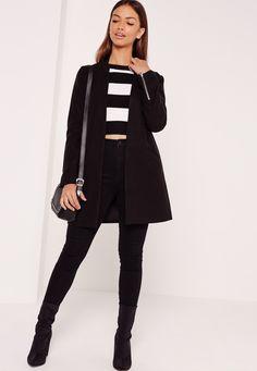 Missguided - Manteau droit noir ajusté