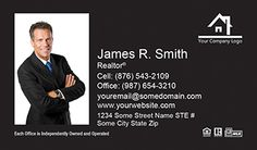 Real Estate Business Cards - IA-BC-009 -  With Photo, Compact, Full Photo,  Black