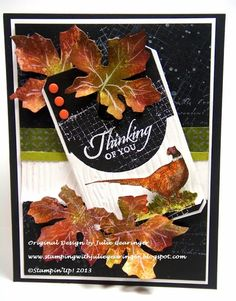 Stamping with Julie Gearinger: Thinking of You- A Masculine Autumn Card