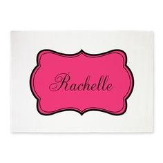 Personalizable Pink and Black 5x7'Area Rug on CafePress.com