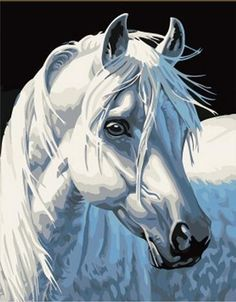 2015 New Acrylic paint by number kit White Horse DIY PBN in Crafts, Art Supplies, Painting Supplies, Paint by Numbers Kits Simple Oil Painting, Oil Painting On Canvas, Diy Painting, Painted Canvas, Horse Paintings On Canvas, Hand Painted, Acrylic Canvas, Horse Oil Painting, Painting Trees