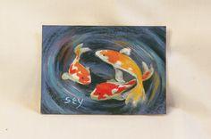 ACEO Original Painting - Mixed Media - Koi. $15.00, via Etsy. syoderart
