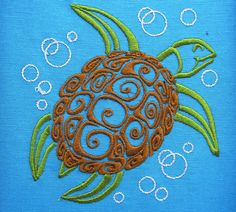 Sea turtle - machine embroidery designs 5x7 and 6x10 sizes: 4x4 - modified for best results 5x7 6x10   *** also included gift surprise - freebie also
