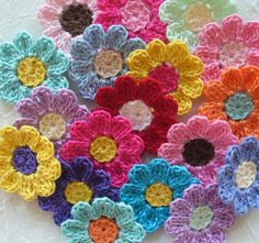 Use these on your next project!Bright Crochet  Daisy Flowers  Handmade Appliques by IreneStitches, $8.00