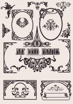Vier zwart-wit Art Deco Frames. Anderen In portefeuille. Stockfoto - 9934838