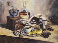 Still Life Original Oil Painting on Canvas Hennessy Cognac and Coffee Wall Decor