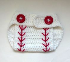 Crochet Baby Baseball Diaper Cover. $20.00, via Etsy.