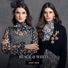 When opting for a monochromatic look like black & white opt to play with texture and prints mix. Match your tweeds to floral print chiffons to create new contrast and obtain the desired effect. Discover more at the link in bio. by dolcegabbana