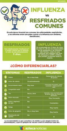Influenza vs resfriados comunes #infografia