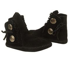 Women's Minnetonka Moccasin Two Button Softsole Black Suede Shoes.com