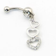 Triple heart belly ring