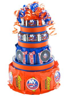 NY Islander Candy Cake! You could do this with any team if you think about it..