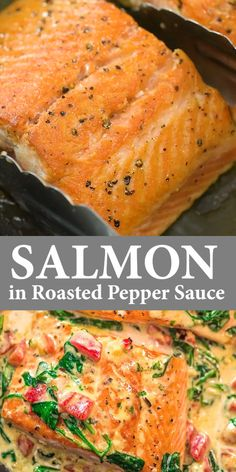 Salmon in Roasted Pepper Sauce I am so excited to share this deliciousness with you, guys! It's really, really, really TASTY. The best part is that this Salmon in Roasted Pepper Sauce doesn't require any fancy ingredients and won't take much of your time. Pescatarian Recipes, Vegetarian Recipes, Healthy Recipes, Keto Recipes, Tasty Recipes For Dinner, Good Food Dinner, Fancy Recipes, Pescatarian Diet, Xmas Recipes