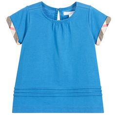 Burberry - Girls Blue T-Shirt with Checked Trims   Childrensalon