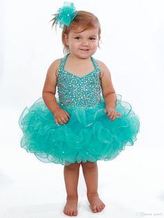 Turq Baby Pageant Dresses 2017 Halter Neck And Sparkling Crystals Fitted Bodice & Short Ruffled Skirt Little Girls Cupcake Pageant Dress Infant Pageant Dresses Little Girls Pageant Dresses Baby Pageant Dresses Online with $134.86/Piece on Grace2's Store | DHgate.com