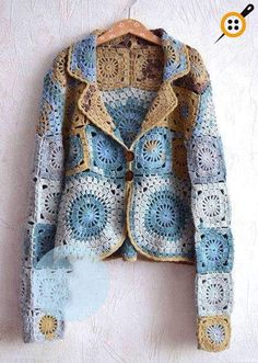 Ideas crochet jacket pattern granny square for 2019 Crochet Bolero, Crochet Jacket Pattern, Pull Crochet, Gilet Crochet, Crochet Coat, Crochet Cardigan, Crochet Clothes, Crochet Vests, Crochet Squares