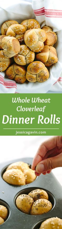 Whole Wheat Cloverleaf Dinner Rolls - A holiday feast is not complete without this homemade recipe. White whole wheat flour gives added nutritional benefit and fiber.   jessicagavin.com