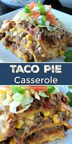 Taco Pie Casserole is a delicious layered casserole recipe with ground beef refried beans corn lots of cheese corn tortillas then topped with lettuce tomatoes green onions tomatoes. Corn Tortilla Casserole, Corn Tortilla Recipes, Taco Pie Recipes, Easy Casserole Recipes, Casserole Dishes, Mexican Food Recipes, Dinner Recipes, Cooking Recipes, Recipes With Corn Tortillas