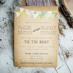 Country Wedding Invitation Suite - Vintage, Antique, bunting and mason jars, rustic wedding invitation suite