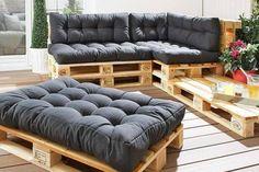 Seat cushions for Euro pallets anthracite) - Danish bed storage - Sitzkissen Palette - Decor Pallet Garden Furniture, Balcony Furniture, Diy Furniture, Furniture Stores, Furniture Makeover, Furniture Design, Furniture Removal, Outdoor Palette Furniture, Furniture Projects