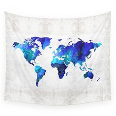 "Society6 World Map 17 - Blue Art By Sharon Cummings Wall Tapestry Small: 51"" x 60"" Society6 http://www.amazon.com/dp/B017O7TPD4/ref=cm_sw_r_pi_dp_MH7Swb0B7XX1E"