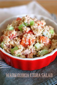This was very good! I substituted the celery with frozen peas. It was easy, quick and cheap. The boyfriend loved it and so did I! I will def make this again.   Food + Fun = Life: Warm Quinoa & Tuna Salad