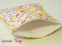 Sweet Little Flowers ... a reusable fabric snack bag
