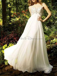 A-line Spaghetti Strap Sweetheart neckline Embroidery Beaded Chiffon Court Train Floor-length Wedding Dress