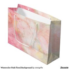 Watercolor Pink Floral Background Large Gift Bag