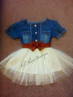 Blue jeans top white tulle dress for age 2 3 by LilAlexisBoutique