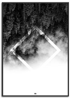 Square Nature | Køb nu på www.posure.dk | Priser fra 179,-  Sort / Hvid plakat med nature af Posure