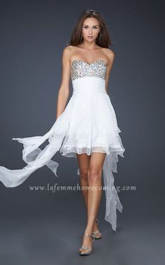 Strapless Homecoming La Femme 17687 Chiffon Sequin White High Low Dress Cheap