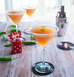 Lipstick Mandarin Cocktail from Trisha Yearwood - Mandarin Vodka, Orange, Lemon and Cranberry Juices, Simple Syrup and Garnished with Serrano Chili's
