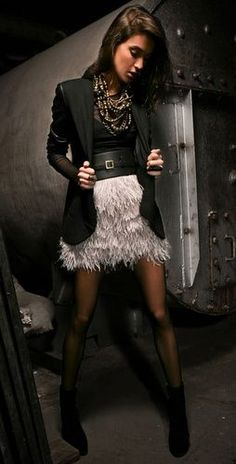 Robert Rodriguez Ostrich Feather Skirt, paired with booties and an obi-style belt + blazer