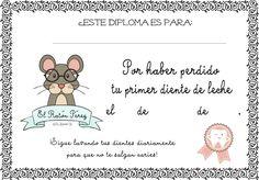 Diploma certificado Ratón Pérez caída del primer diente de leche Imprimible descargable gratuito