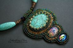 peacock bead embroidery necklace