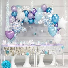 DIY Garland Balloon With Purple White Blue Chrome Metallic Latex Balloons Perfect for Frozen Birthday Party Baby Shower Winter Wonderland Party Decorations Christmas Party. Frozen Balloons, Princess Balloons, Bubblegum Balloons, Frozen Themed Birthday Party, Disney Frozen Birthday, 5th Birthday, Frozen Birthday Outfit, Birthday Ideas, Frozen Party Decorations
