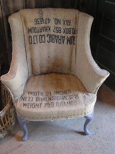 Home Design burlap chair! Elegant Home Interior Ideas Design GREY Sofa Upholstery, Sofa Chair, Armchair, Upholstery Repair, Upholstery Cleaner, Painted Furniture, Diy Furniture, Burlap Chair, Grain Sack
