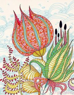 """Zentangle & Doodling Зентангл и Дудлинг """"Petals"""" - ink abstract by Yellena James Art And Illustration, Art Floral, Dibujos Zentangle Art, Zentangles, Yellena James, Flower Doodles, Art Journal Pages, Doodle Art, Painting Inspiration"""
