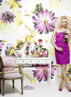 Digital verfremdetes florales Motiv: Wandbild Posh Pixels von Mr Perswall #tapete #blumen